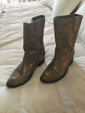 Anthropologists Schutz gold crackle mid calf leather boots 37