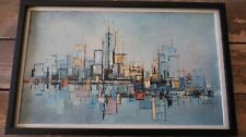 "Mid Century Abstract City Landscape Oil Painting by Edward Cathony 21.5"" x 13.5"""