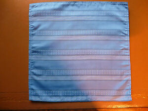 Silk mens top pocket handkerchief  Mid blue with white dots and stripes   NEW