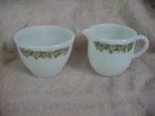 PYREX SPRING BLOSSOM GREEN PYREX CREAMER & SUGAR BOWL HEAVY MILK GLASS  VGUC