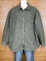 Outdoor Life Olive Army Green Fleece Lined Button Up Jacket Mens Size XLT