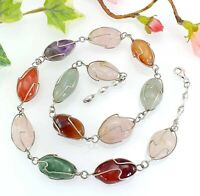 Vintage Caged Gemstone Quartz Amethyst Agate Bead Necklace with Silver Clasp