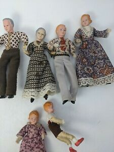VIntage lot of 6 miniature cloth bendable doll house dolls