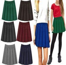 Girls Womens Box Pleated Mini Skirt Kids Elasticated Waist School Wear Skirt