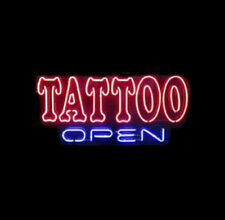 "New Tattoo Open Neon Light Sign 17""x12"" Man Cave Shop Home Wall Decor Lamp"
