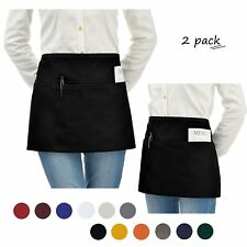 Short Aprons Pack Of 2 Black Unisex Serving Aprons With 3 Pockets 24x12 inches