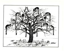 New Years Eve Party Cats in Tree Hats Kliban Cat Print Black White Vintage
