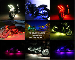 8pc 18 Color 5050 SMD RGB Led Gunfire Motorcycle Led Neon Strip Light Kit