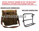 """Royal Enfield """"Brown Olive"""" RH Military Pannier & Fitting For Classic 350 500"""