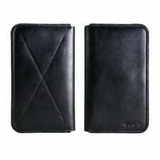 D-Park Leather And Wool Felt Wallet Case Sleeve - most mobile phones - Black