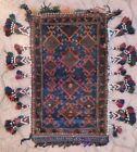 Vintage Afghan Baluchi Saddle Salt bag rug wool carpet face tribal hand knotted