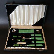 Vintage Manicure Set with Beautiful Green Bakelite Handles
