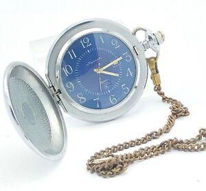 Vintage MOLNIJA Men's Retro Pocket Watch USSR Serviced Soviet Collectible Quartz