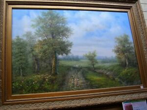 """BEAUTIFUL OIL ON CANVAS """"COUNTRYSIDE"""" SIGNED - ARTIST UNKNOWN"""