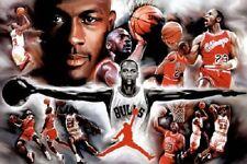 Michael Jordan Wings Collage Vintage Sports Poster Print Basketball NBA Rare 23