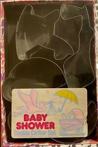 Vintage Set Of Baby Shower Metal Cookie Cutters Fox Run Craftsmen AWESOME!
