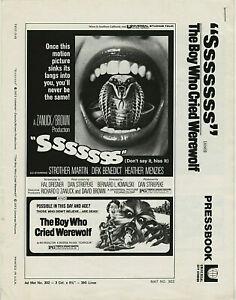 Sssssss / THE BOY WHO CRIED WEREWOLF Double Bill • 1973 • Universal