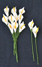 50 WHITE Mulberry Paper miniature arum CALLA LILY for crafts wedding  card