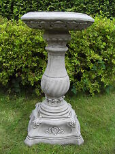 LARGE DEVON BIRD BATH FEEDER TABLE Hand Cast Stone Garden Ornament ⧫onefold-uk