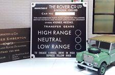 "Land Rover Series 1 80"" Bulkhead Gear Transfer Box Information Plate Plaque"