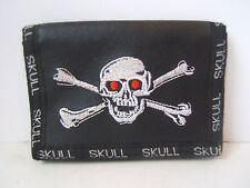 Skull and Crossbones Tri Fold Wallet Black Hook and Loop Fastener Goth Gothic