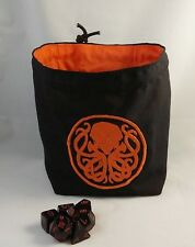 Square Dice Bag - Orange Cthulhu Reversible Cotton Bag - Tile - Drawstring Pouch