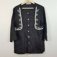 [ HAMMOCK & VINE ] Womens Linen Top w/ Beading Detail | Size AU 14