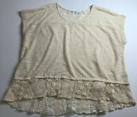 Cato Women's Short Sleeve Blouse Top 18 20W Plus Beige Cream Sheer Lace Boho