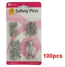 SAFETY PIN ASSORTED SIZE SILVER 100PCS