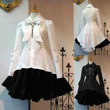 Medieval Women's Long Sleeves Ruffles Lolita Girl Princess Dress Party Costume