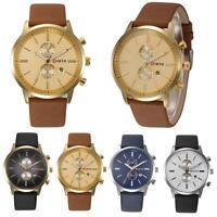 NORTH Men's Fashion Slim Genuine Leather Band Analog Quartz Watches Wrist Watch
