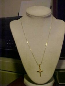 "18"" Unisex 14K Yellow Gold Necklace w/ Religious Crucifix Cross Pendant 4.2 Gram"