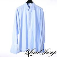 #1 MENSWEAR Charvet Made in France Solid Blue French Cuff Spread Shirt 16 40.5