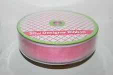 "New Wired Designer Ribbon 50 Yards x 1.5 "" Pink Organza w/ White Border"
