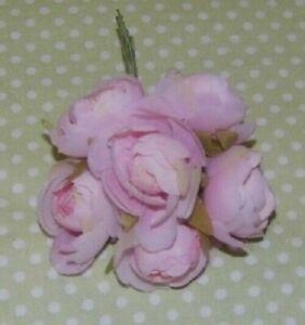 Pastel PINK silk & net CABBAGE ROSE 6 pcs. wired  Alexander DOLL HATS & Crafts