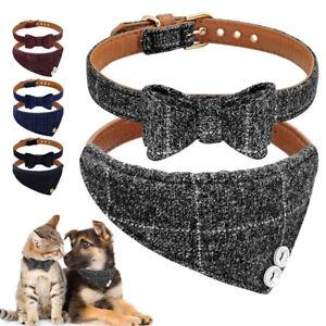 British Bow Tie Dog Collars&Bandana Set Soft Leather Padded for Pet Puppy Cat