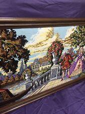 "VTG Large French Estate Needlepoint Tapestry Renaissance Couple 47""x24""Framed"