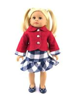 """Doll Clothes 18"""" Red Quilted Jacket Skirt Navy Plaid Fits American Girl Dolls"""