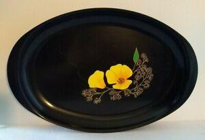 "Vintage Couroc of Monterey MCM Inlaid Orange Poppy Oval Tray Platter 16"" x 9.5"""