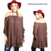PLUS Brown BOHO Hippie Gypsy Off Shoulder Ruffle Bell Sleeve Tunic Top 1X 2X 3X