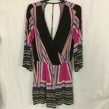 Very Women's Playsuit Size 14 / M Colourful Striped Deep V Neck