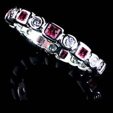 GEOMETRIC RUBY RED / CLEAR CZ ETERNITY BAND _SIZE-8__925 STERLING SILVER