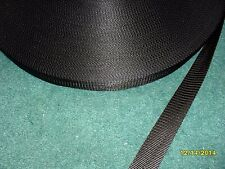 1 inch 25 feet lightweight BLACK nylon webbing strapping Made in USA