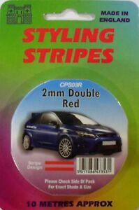 Red 2mm x 10mtr Twin Self Adhesive Car Pin Stripe Coach Tape Styling Stripe