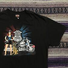 Harley Davidson Police Girl K9 Dog Shirt Graphic Tee Mens XL Jacksonville NC
