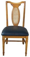 Traditional Walnut Cane Back & Black Vinyl Side Chair Desk Office Dining
