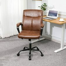 Vintage Leather Office Chair Brown Computer Desk Executive Task Chair Ergonomic