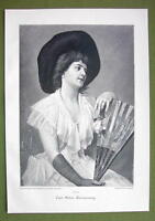 LOVELY LADY Holding Fan Pensive - VICTORIAN Era Print Engraving