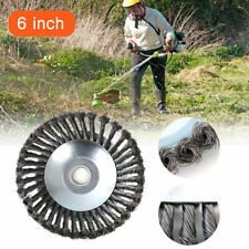 6 Inch Garden Weed Brush Trimmer Lawn Mower Head Solid Steel Wire Wheel Grass UK