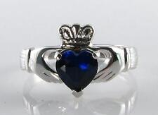 CLASSIC 9CT 9K WHITE GOLD CLADDAGH Sri Lankan SAPPHIRE HEART RING FREE RESIZE